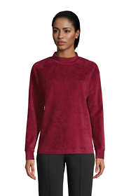 Women's Petite Long Sleeve Sport Cord Mock Neck Sweatshirt