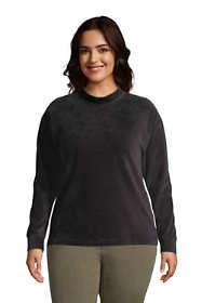 Women's Plus Size Long Sleeve Sport Cord Mock Neck Sweatshirt