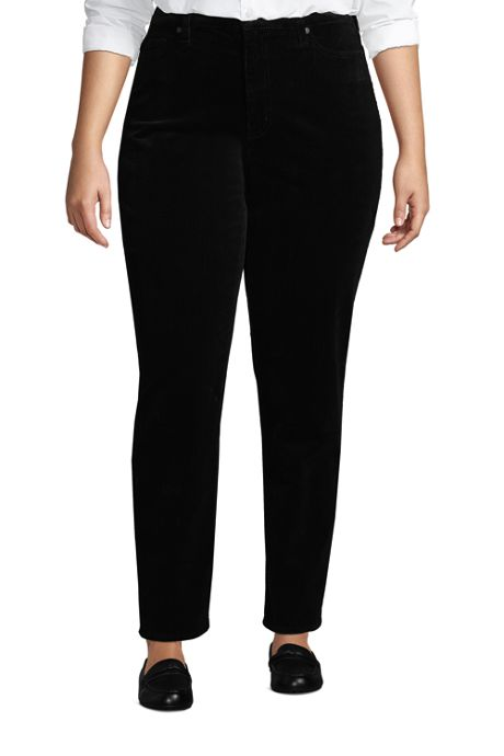 Women's Plus Size High Rise Wide Wale Cord Straight Leg Ankle Pants