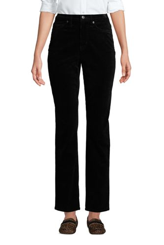 Women's Plus High Waisted Wide Wale Cord Straight Ankle Jeans