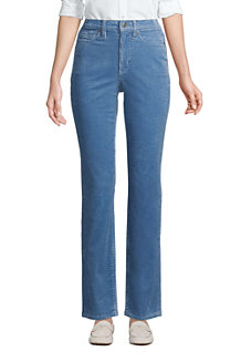 Women's High Waisted Wide Wale Cord Straight Ankle Jeans