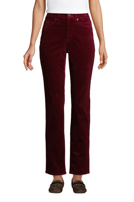 Women's High Rise Wide Wale Cord Straight Leg Ankle Pants