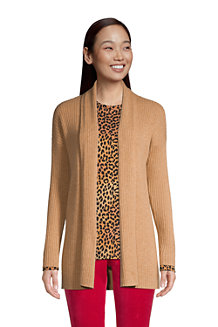 Women's Cashmere Ribbed Open Front Cardigan