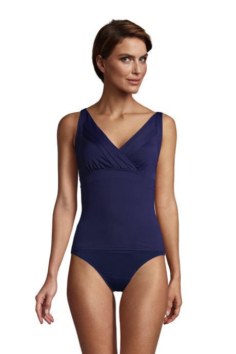 Women's V-neck Pleated Underwire Tankini Top Swimsuit with Adjustable Straps
