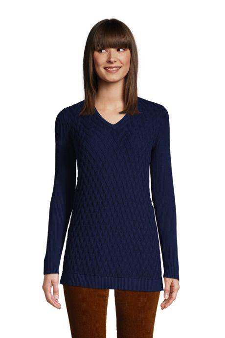 Women's Petite Fine Gauge Cotton Mix Stitch V-Neck Tunic Sweater