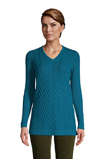 Women's Cotton Cable V-Neck Tunic
