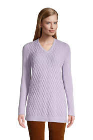 Women's Petite Fine Gauge Cotton Mix Stitch V-Neck Tunic Sweater
