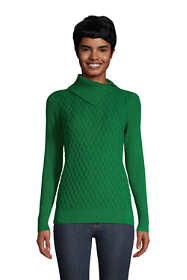 Women's Tall Fine Gauge Cotton Mix Stitch Turtleneck Sweater