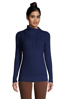 Baumwoll-Pullover mit geschlitztem Rollkragen für Damen
