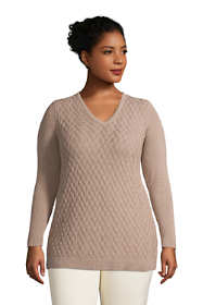 Women's Plus Size Fine Gauge Cotton Mix Stitch V-Neck Tunic Sweater