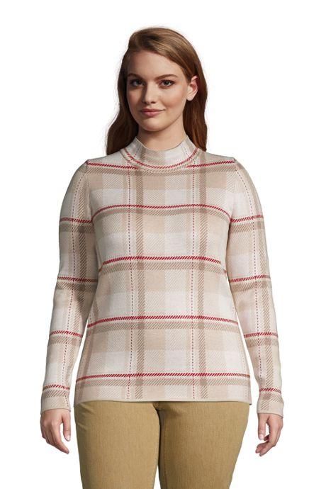 Women's Plus Size Lofty Mock Sweater - Birdseye Jacquard