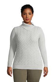 Women's Plus Size Fine Gauge Cotton Mix Stitch Turtleneck Sweater