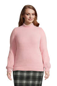 Women's Plus Size Eyelash bishop Sleeve Mock Neck Sweater