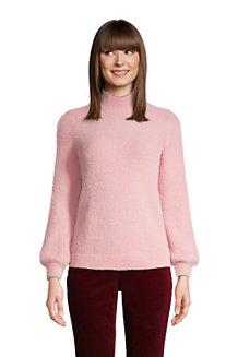 Stehbund-Pullover aus Fransengarn