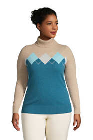 Women's Plus Size Cashmere Turtleneck Sweater - Intarsia