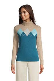 Women's Cashmere Turtleneck Sweater - Intarsia