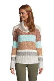 Women's Cozy Lofty Cowl Neck Sweater - Stripe