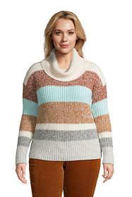 Women's Plus Size Cozy Lofty Cowl Neck Sweater - Stripe