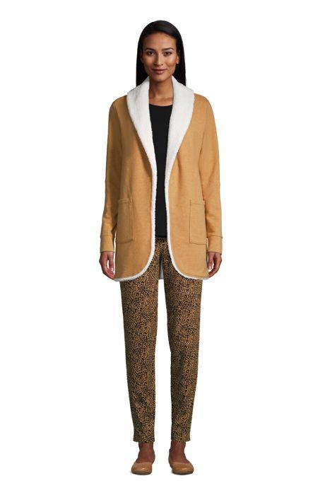 Women's Petite Sherpa Lined Cozy Cardigan Robe