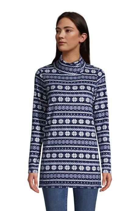Women's Petite Fleece Tunic Pullover Top Print
