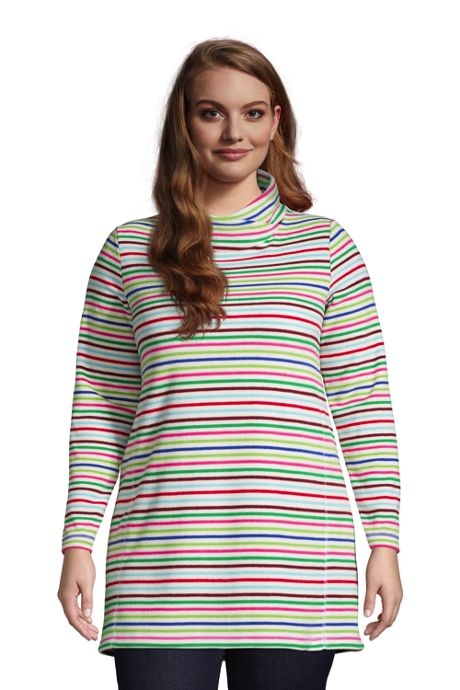 Women's Plus Size Fleece Tunic Pullover Top Print