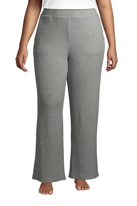 Women's Plus Size Rib Wide Leg Sleep Pants