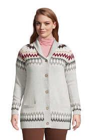 Women's Plus Size Cotton Drifter Shawl Cardigan Sweater - Jacquard