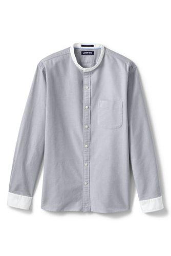 Oxfordhemd mit Großvater-Kragen für Herren, Modern Fit