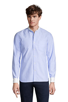 Men's Cotton Oxford Grandad Shirt With Contrast Collar