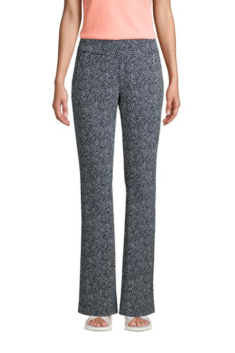 Women's Starfish Mid Rise Bootcut Elastic Waist Pull On Pants Print