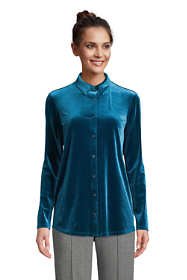 Women's Tall Velvet Long Sleeve Button Down Tunic