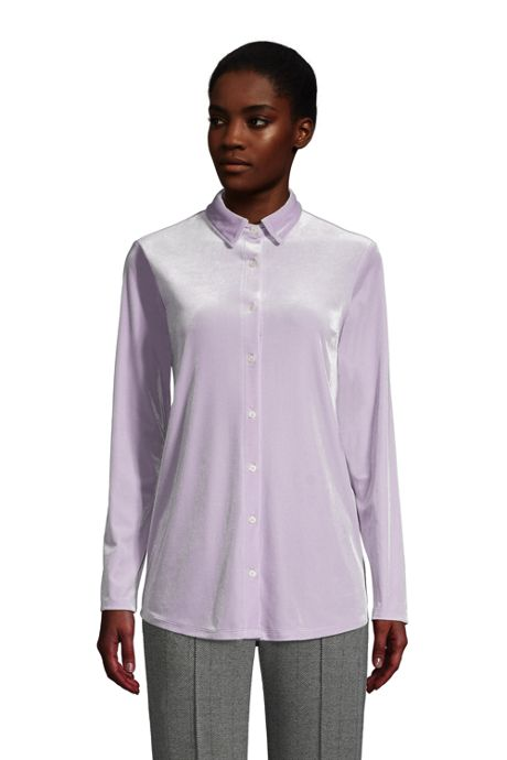 Women's Tall Velvet Long Sleeve Button Down Tunic