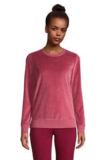 Sweatshirt en Velours à Manches Longues, Femme