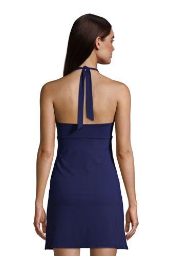 Women's Tummy Control V-neck Halter Swim Dress One Piece Swimsuit with Shorts