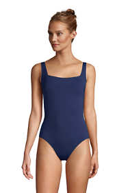 Women's Square Neck One Piece Swimsuit with Adjustable Straps