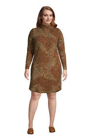 Women's Plus Size Long Sleeve Fleece Quarter Zip Dress