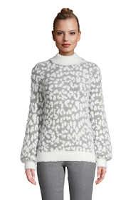 Women's Petite Long Sleeve Eyelash Sweater - Pattern