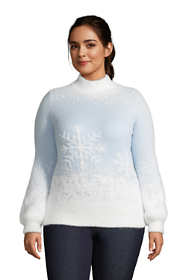 Women's Plus Size Long Sleeve Eyelash Sweater - Pattern