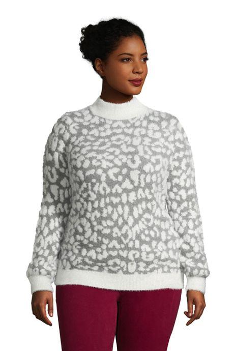 Women's Plus Size Eyelash Bishop Sleeve Mock Neck - Pattern
