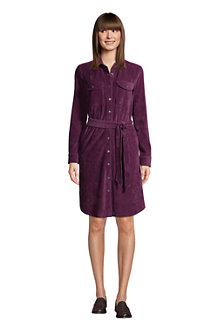 Women's Sport Knit Cord Long Sleeve Button Front Dress
