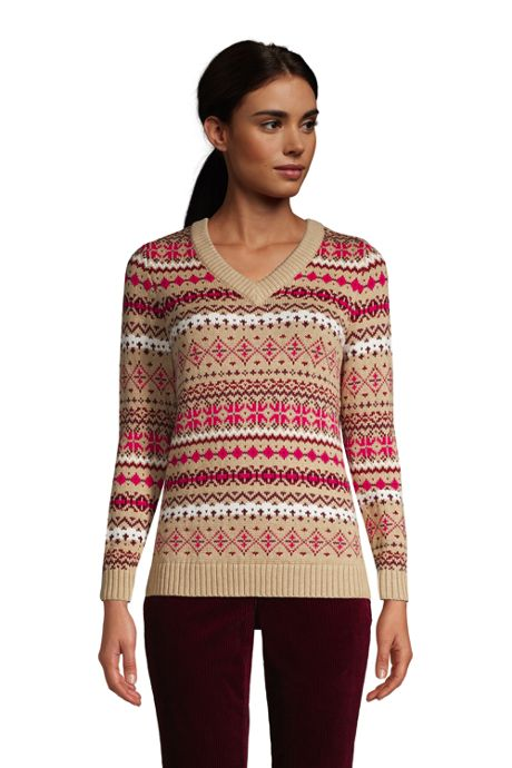 Women's Cotton Drifter V-Neck Sweater - Jacquard