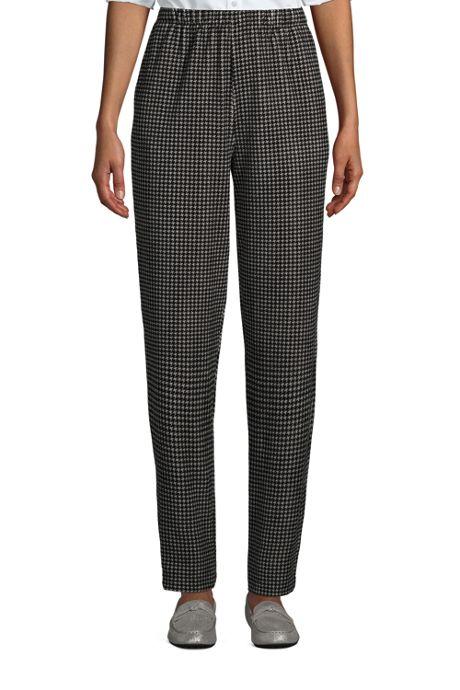 Women's Petite Sport Knit Corduroy Elastic Waist Pants High Rise Pattern
