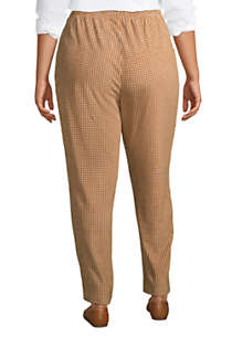Women's Plus Size Sport Knit Corduroy Elastic Waist Pants High Rise Pattern, Back