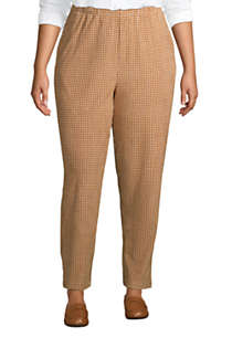 Women's Plus Size Sport Knit Corduroy Elastic Waist Pants High Rise Pattern, Front