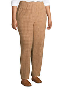 Women's Plus Size Sport Knit Corduroy Elastic Waist Pants High Rise Pattern, alternative image