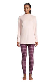 Women's Petite Cozy Pajama Set Long Sleeve Top and Print Leggings