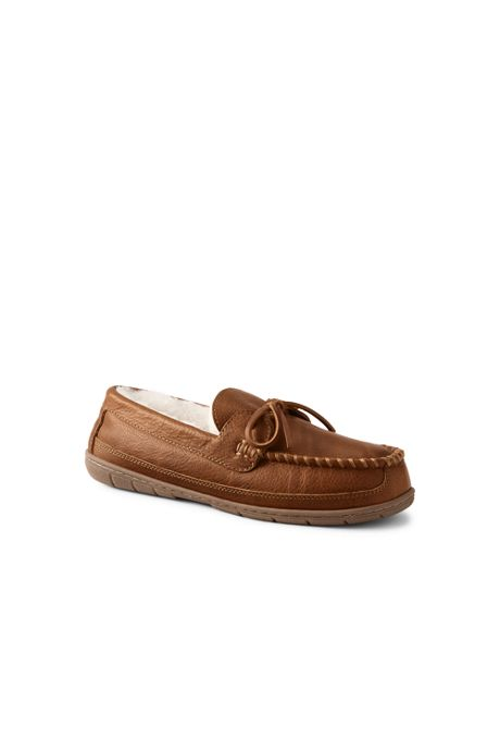 Men's Leather Shearling Moccasin Slippers