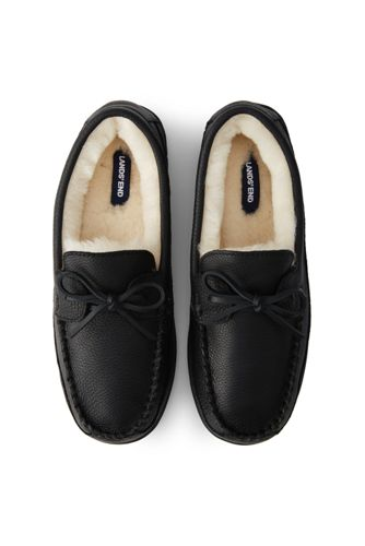 Men's Leather Moccasin Slippers with Shearling Lining