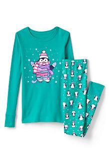 Schmal geschnittenes Pyjama-Set mit Leuchtmotiv für Kinder
