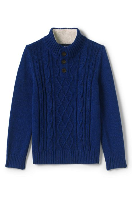 Little Boys Cable Button Mock Neck Sweater